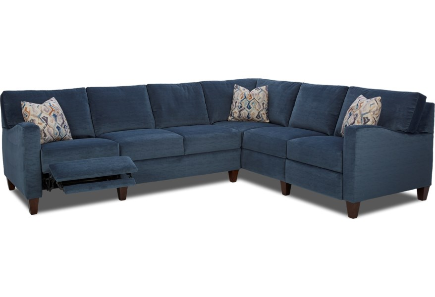 Colleen Hybrid Reclining Sectional with RAF Corner Sofa by Klaussner at  Dunk & Bright Furniture