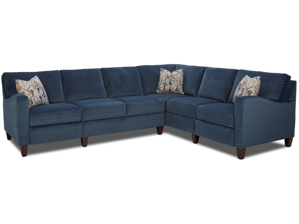 Klaussner ColleenHybrid Reclining Sectional w/ RAF Corn Sofa