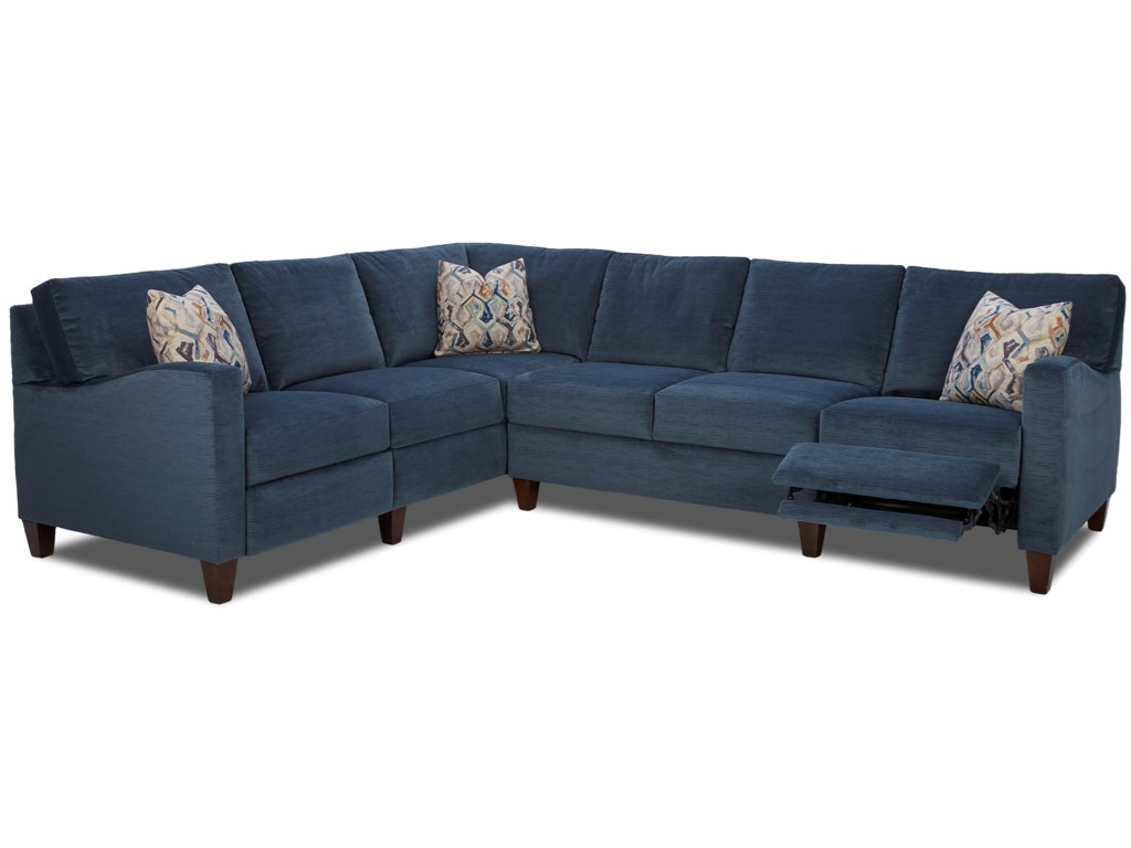 Klaussner ColleenHybrid Reclining Sectional w/ LAF Corn Sofa