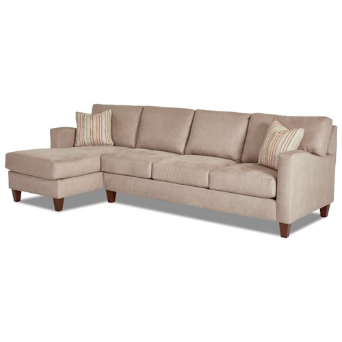 Klaussner Colleen Two Piece Stationary Sectional with LAF Chaise