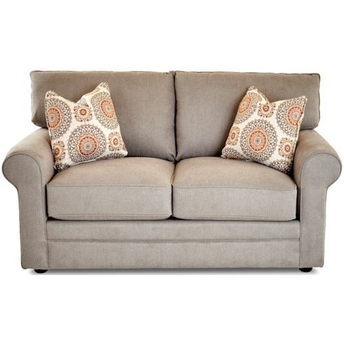 Klaussner Comfy Casual Stationary Loveseat with Rolled Arms, Unattached Back and Welt Detail