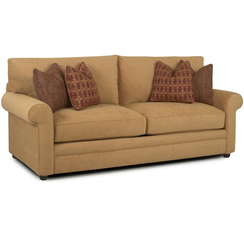 Klaussner Comfy Casual Stationary Sofa with Rolled Arms, Unattached Back and Welt Detail