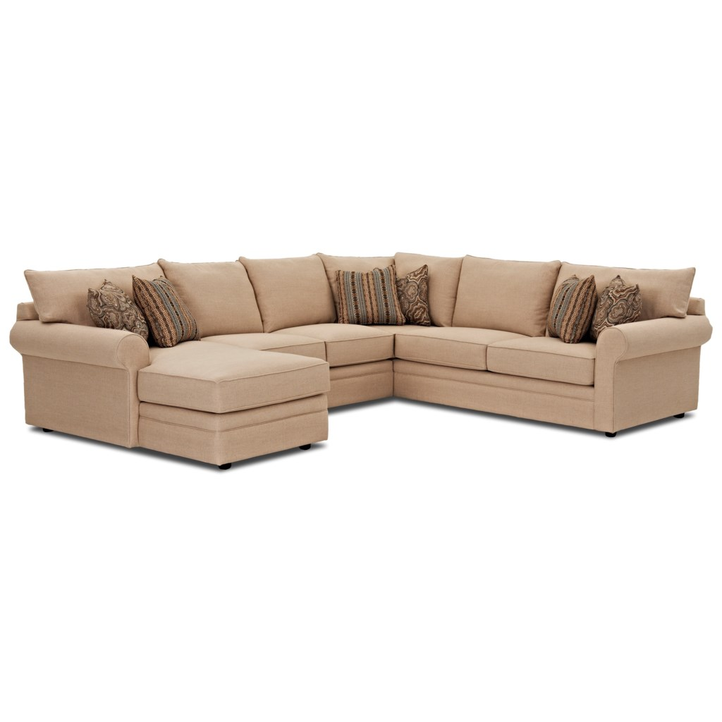 Comfy casual sectional sofa with laf chaise by klaussner