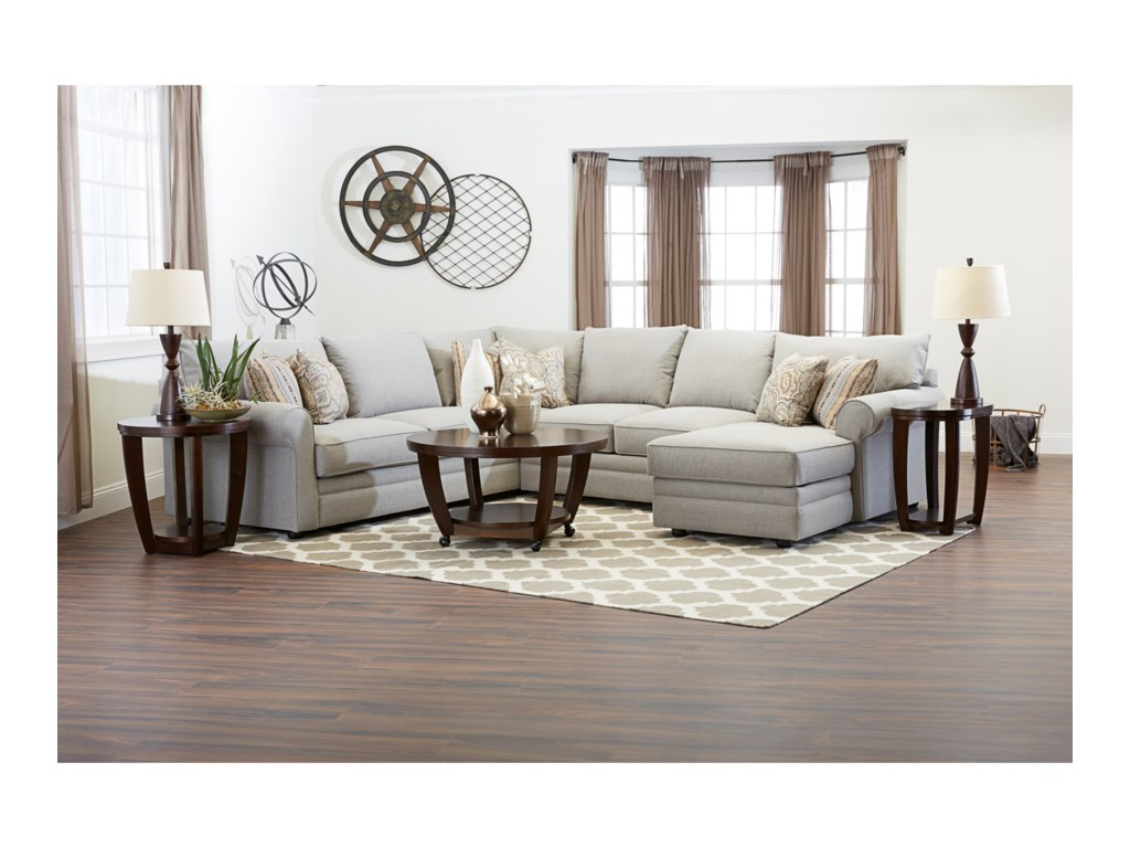 Klaussner ComfySectional Sofa w/ RAF Chaise