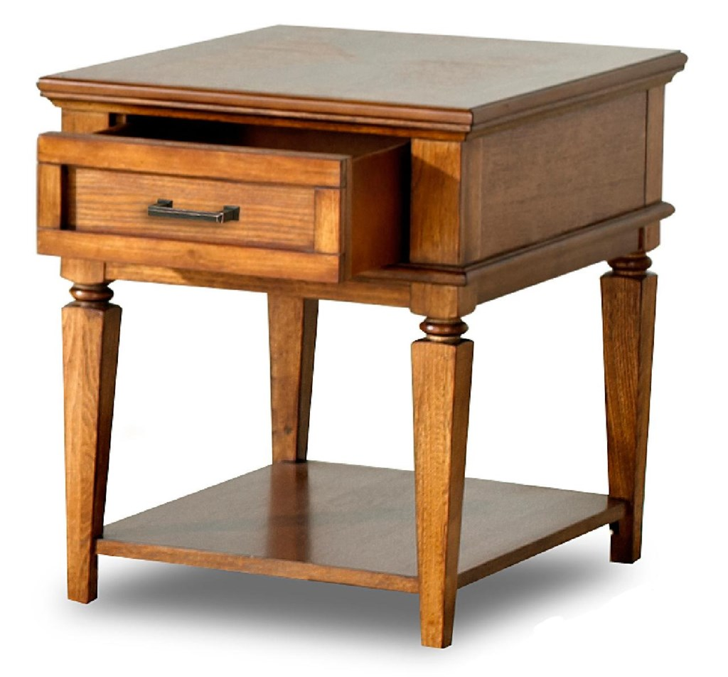 Concord Transitional End Table With Drawer And Shelf Morris Home