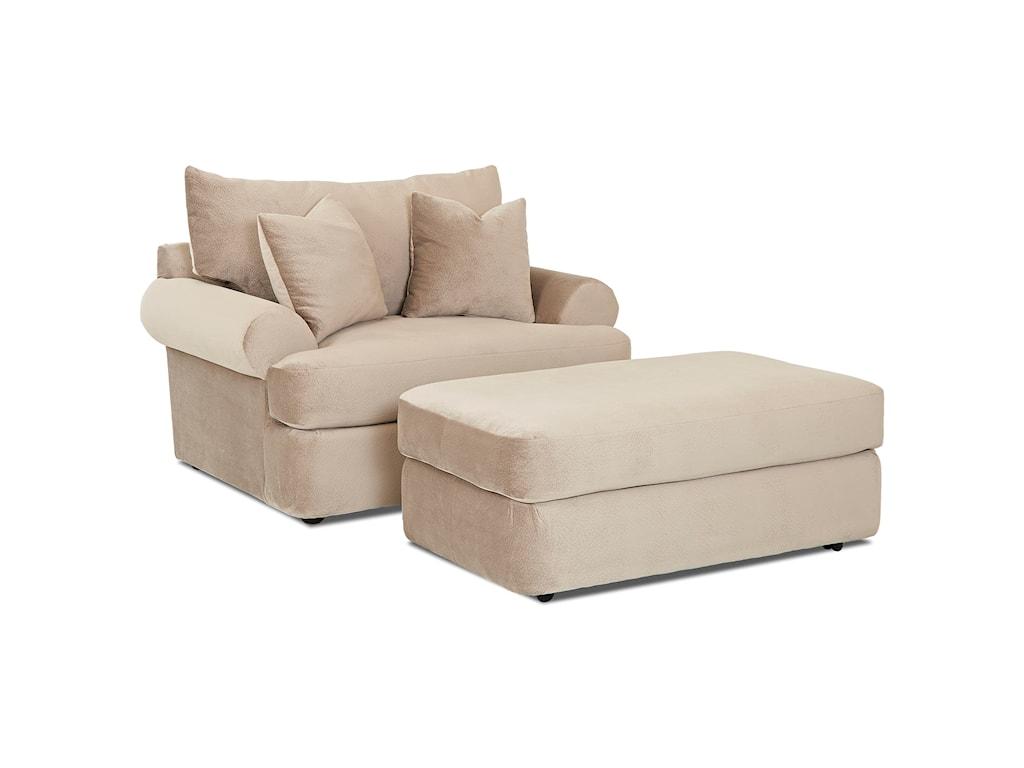 Klaussner CoraBig Chair and Ottoman Set