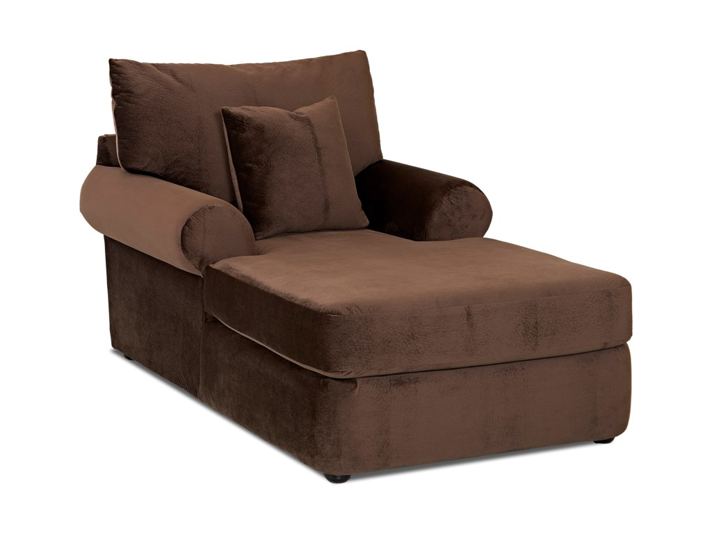 Cora Casual Plush Chaise Lounge By Klaussner At Dunk Bright Furniture