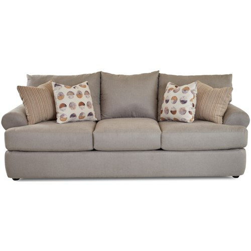Klaussner Cora Casual Three Seat Sofa with Rolled Arms