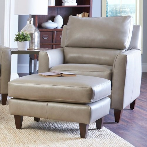 Klaussner Cortland Contemporary Chair and Ottoman Set