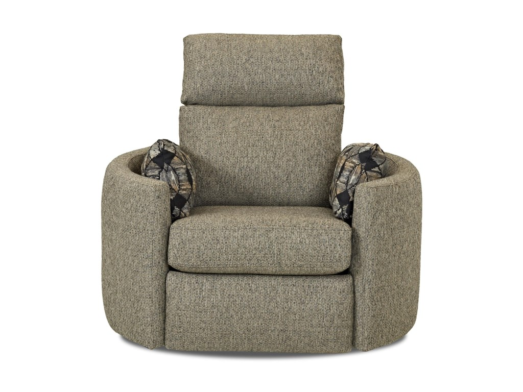Klaussner Cosmo Contemporary Power Reclining Swivel Chair Dunk - Reclining swivel chair