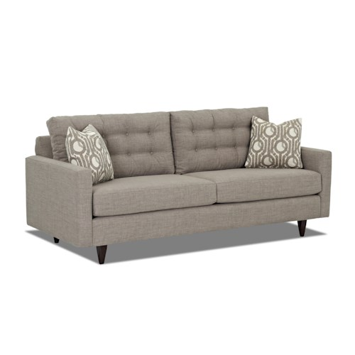Klaussner Craven  Contemporary Sofa with Tapered Legs and Tufted Loose Back Cushions
