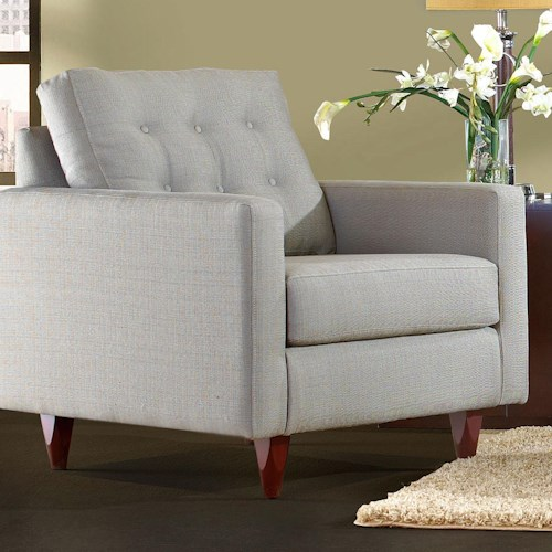Klaussner Craven Contemporary Button-Tufted Chair with Tall Block Legs