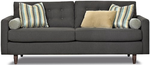 Klaussner Craven Contemporary Button-Tufted Sofa with Tall Block Legs