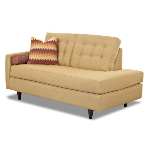 Klaussner Craven Contemporary Left-Arm-Facing Chaise Lounge with Tufted Back