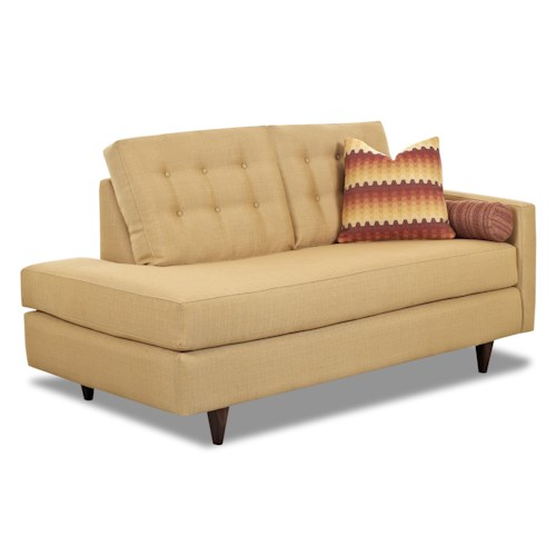 Klaussner Craven Contemporary Right-Arm-Facing Chaise Lounge with Tufted Back