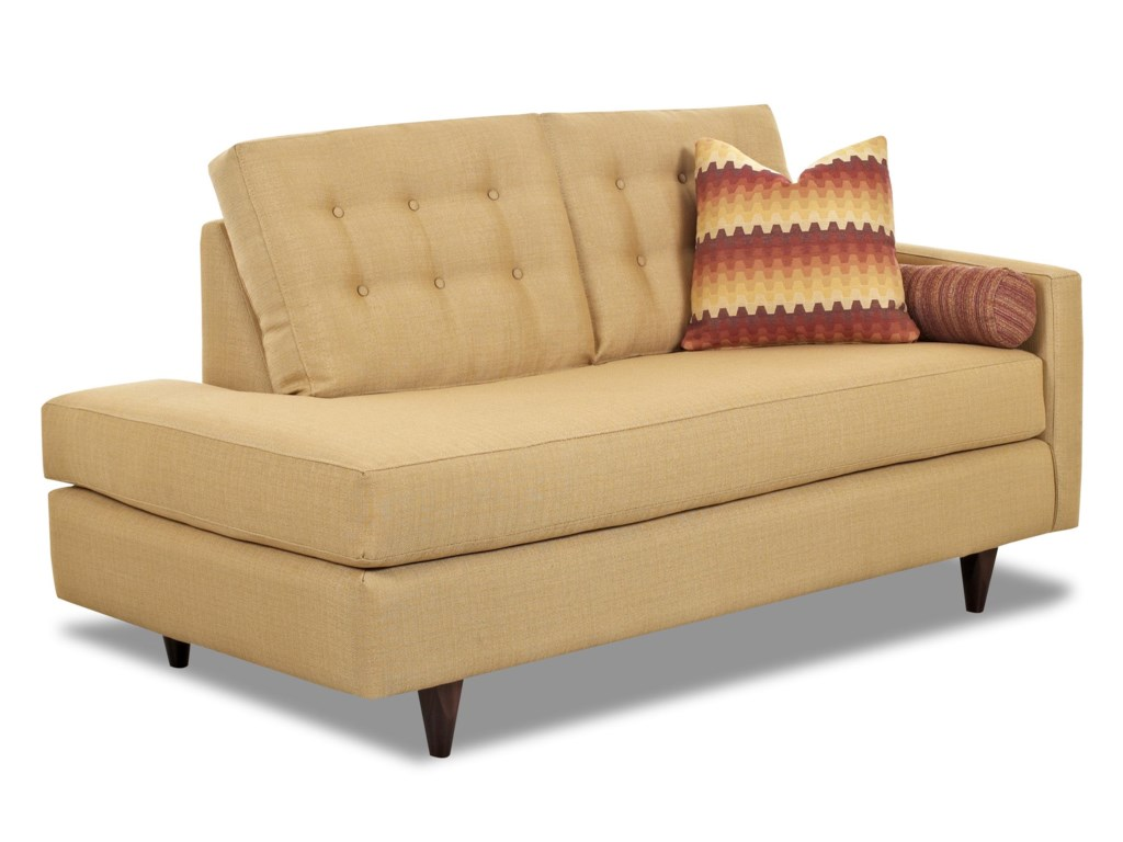 Klaussner Craven Contemporary Right Arm Facing Chaise Lounge With Tufted Back