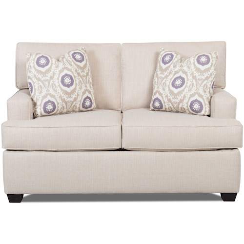 Klaussner Cruze Contemporary Loveseat with Track Arms