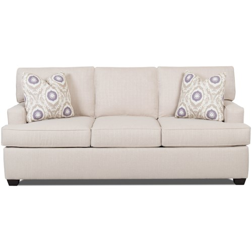 Klaussner Cruze Contemporary Sleeper Sofa with Track Arms and Queen-Sized Enso Memory Foam Mattress