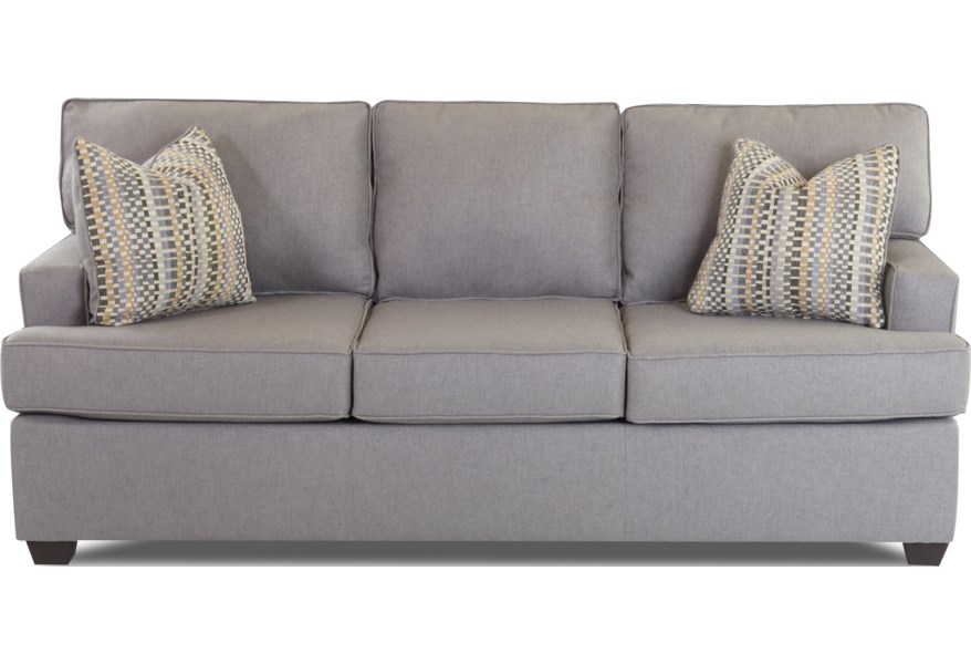 Klaussner Cruze E92820 Dqsl Contemporary Sleeper Sofa With Track Arms And Queen Sized Dreamquest Mattress Hudson S Furniture Sleeper Sofas