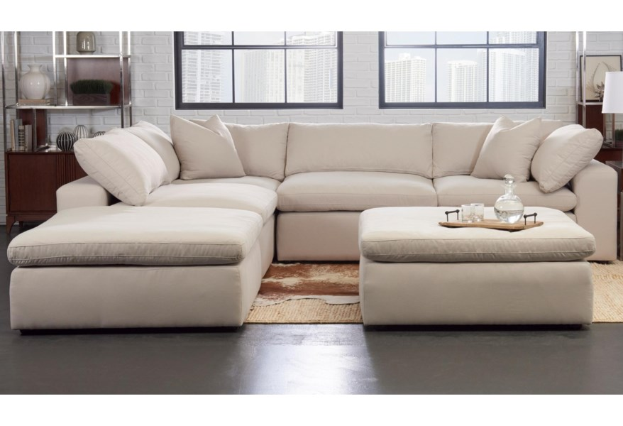 Monterey Contemporary 5 Pc Modular Sectional Sofa by Klaussner at Dunk &  Bright Furniture