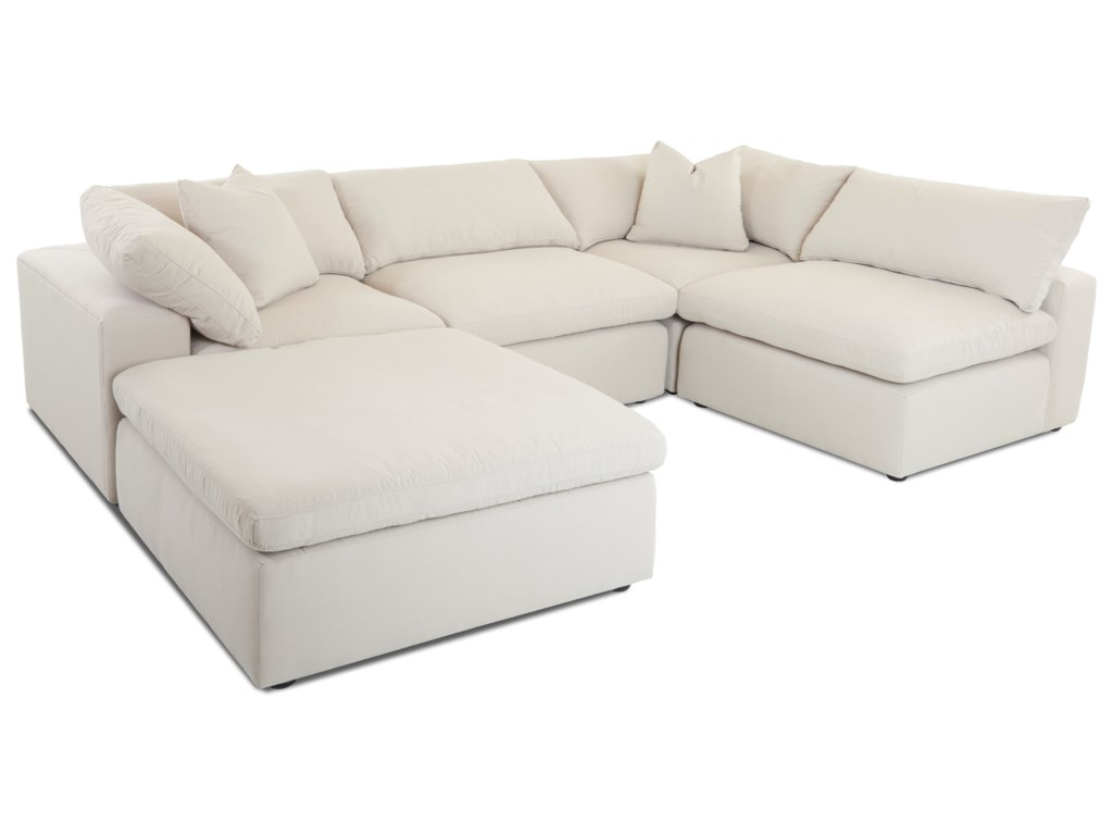 Klaussner Monterey Contemporary 5 pc Modular Sectional Sofa ...