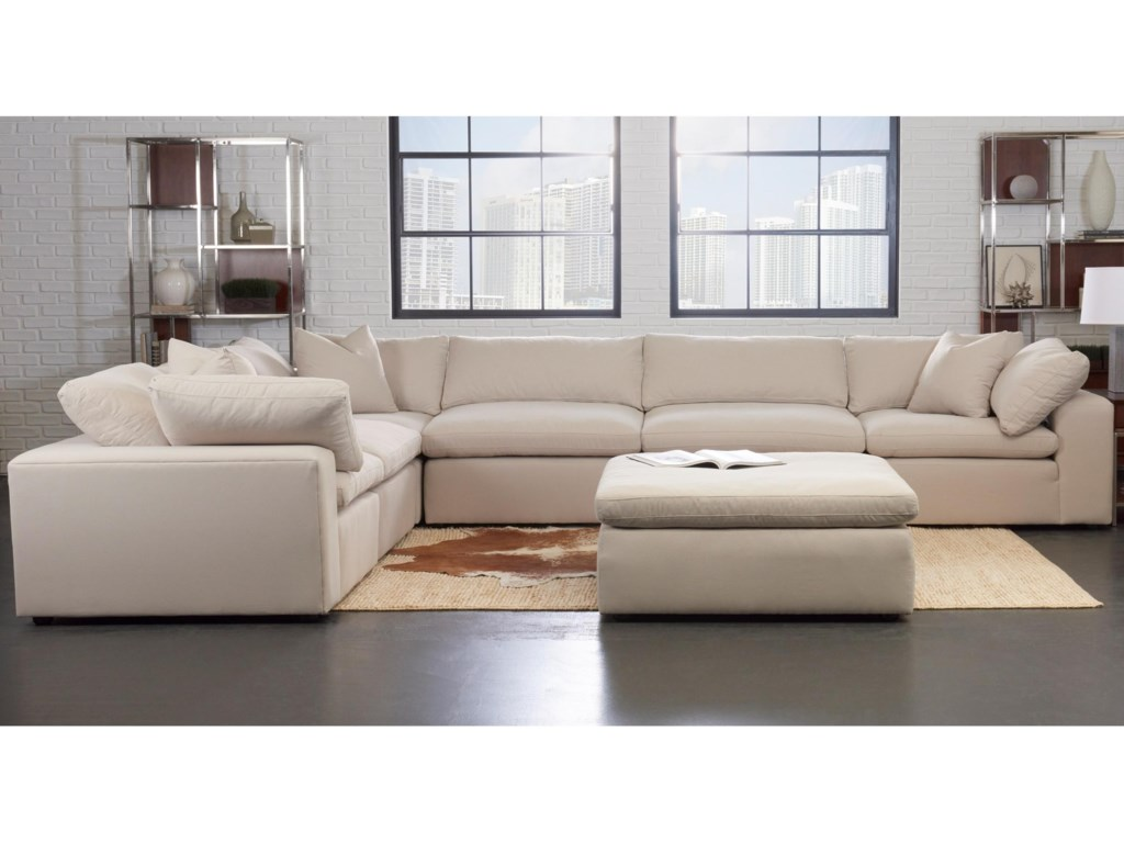 Klaussner Monterey Contemporary 6 Pc Modular Sectional Sofa ...