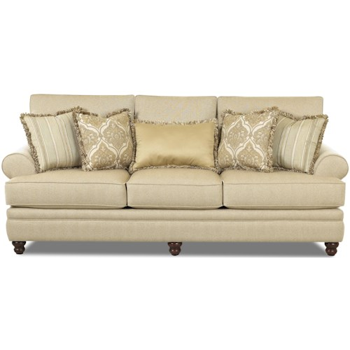 Klaussner Darcy Rolled Arm Sofa With Accent Pillows