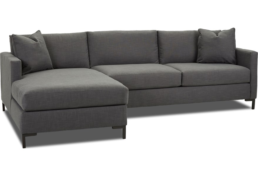 Klaussner Dawson Modern Two Piece Sectional Sofa with Metal ...
