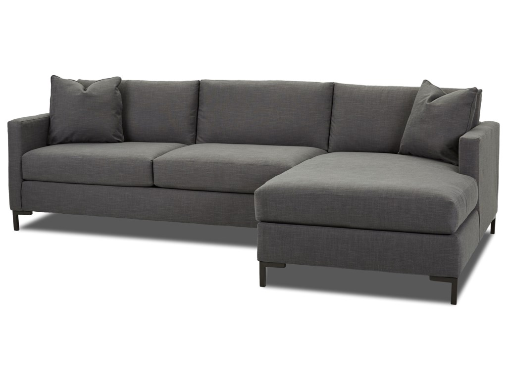 Dawson Modern Two Piece Sectional Sofa with Metal Legs and RAF Chaise by  Klaussner at Wayside Furniture