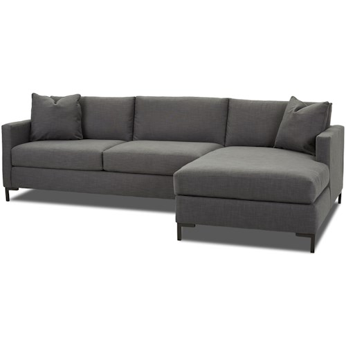 Klaussner Dawson Modern Two Piece Sectional Sofa with Metal Legs and RAF Chaise
