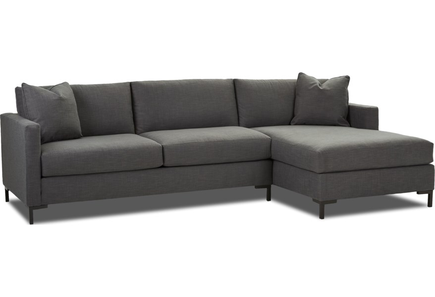 Klaussner Dawson Modern Two Piece Sectional Sofa With Metal Legs