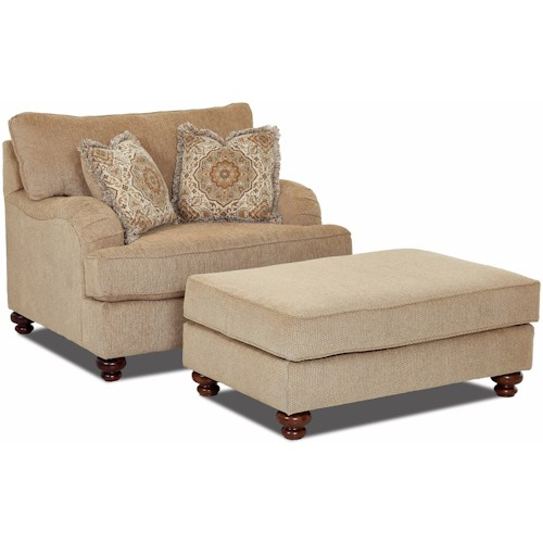 Klaussner Declan  Oversized Chair and Ottoman Set