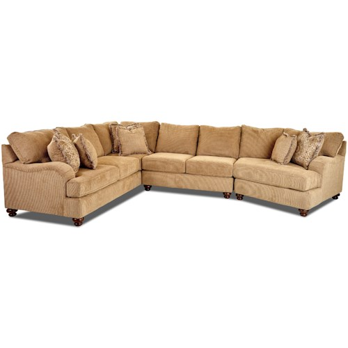 Klaussner Declan  Three Piece Sectional Sofa with RAF Cuddler