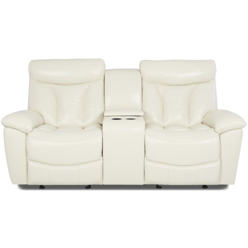 Klaussner Deluxe Gliding Reclining Love Seat with Console