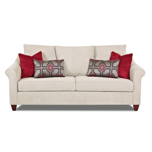 Klaussner Diego Transitional Sofa with Tapered Legs and Accent Pillows