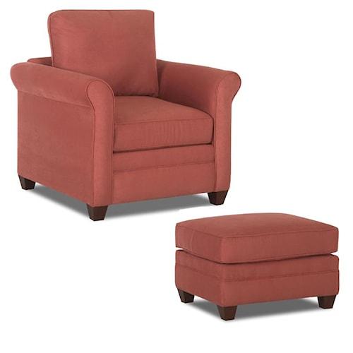 Klaussner Dopler Chair & Ottoman with Tapered Bun Feet