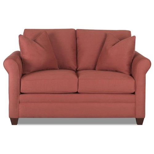 Klaussner Dopler Loveseat with Rolled Arms