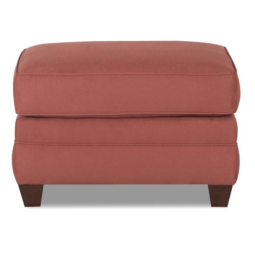 Klaussner Dopler Ottoman with Tapered Bun Feet