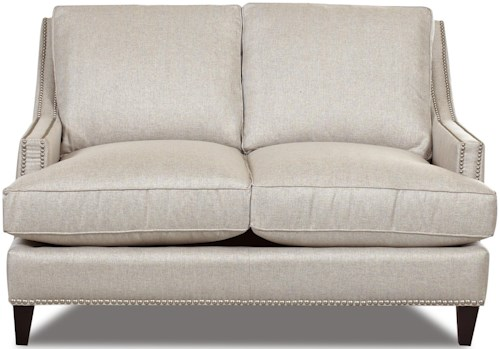 Klaussner Duchess Transitional Nail Head Wing Back Loveseat with Blend Down Cushions