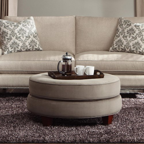Klaussner Duchess Transitional Double Disc Stacked Cushion Ottoman