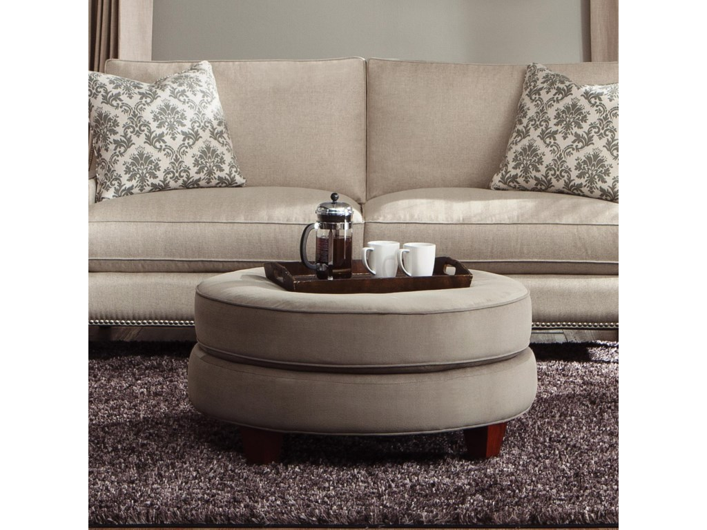Klaussner Duchess Transitional Double Disc Stacked Cushion Ottoman Find Your Furniture Ottomans