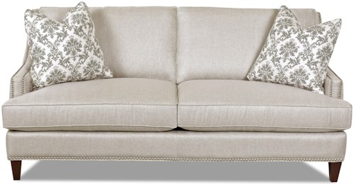 Klaussner Duchess Transitional Nail head Wing Back Sofa with Blend Down Cushions
