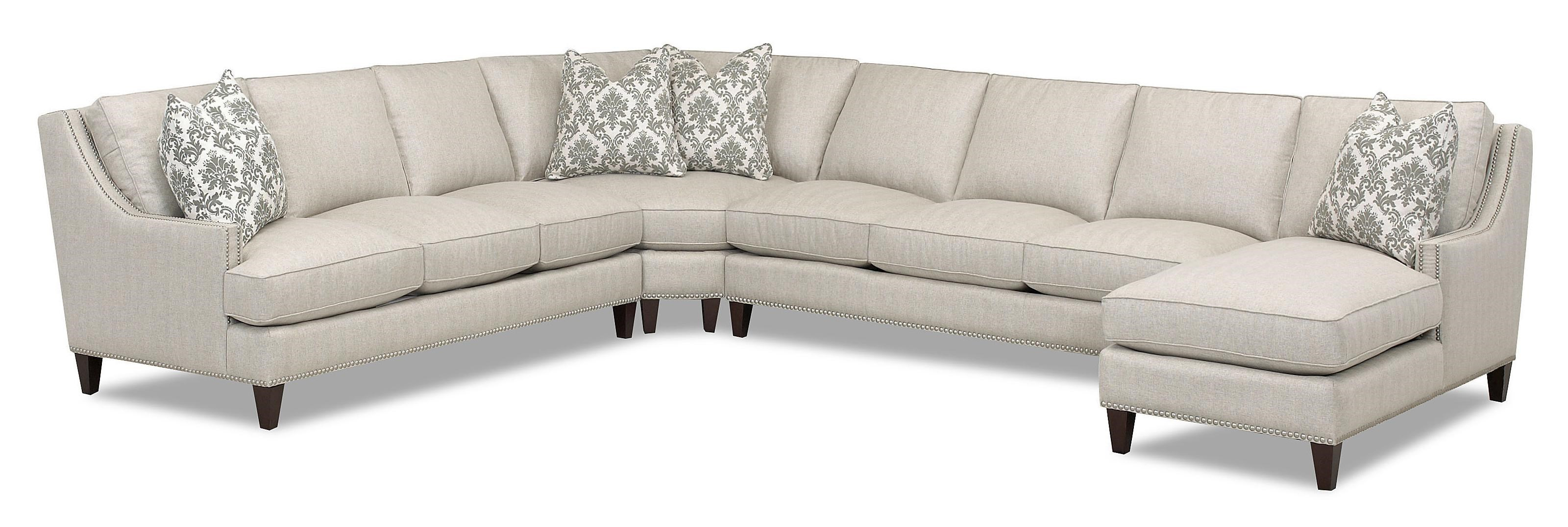 Merveilleux Klaussner Duchess Transitional 4 Piece Sectional With Chaise