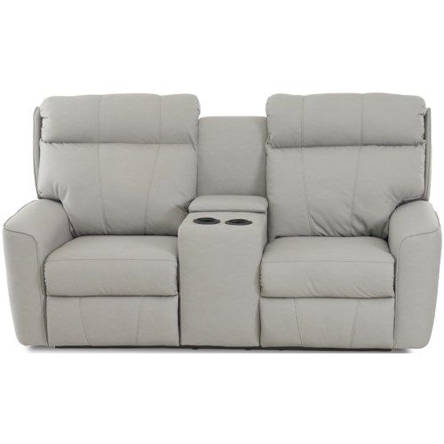 Klaussner Elara Casual Reclining Loveseat with Cupholders and Storage Console