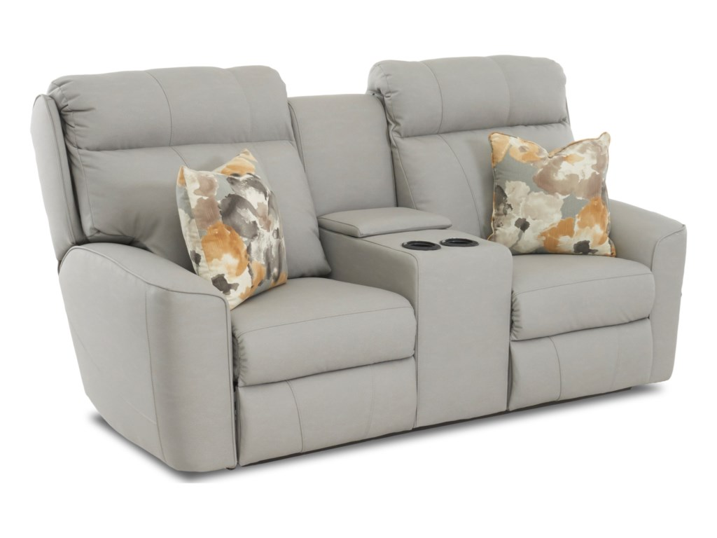 Klaussner ElaraConsole Reclining Loveseat w/ Pillows