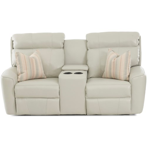 Klaussner Elara Casual Reclining Loveseat with Cupholder Storage Console and Pillows