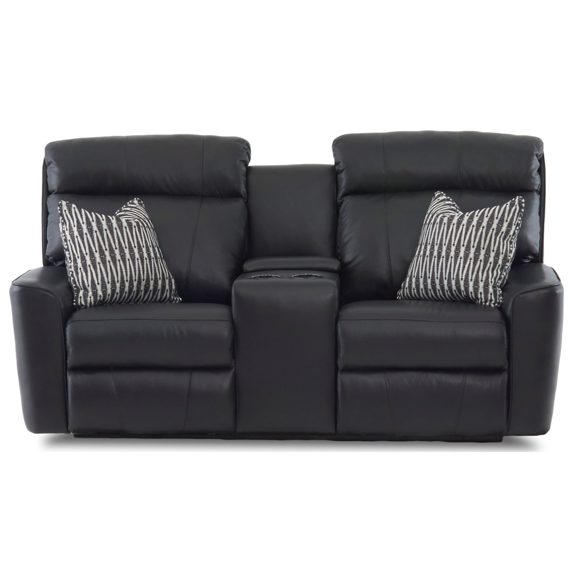 Klaussner ElaraConsole Reclining Loveseat W Pillows Recliner With Cup Holder And Storage H99