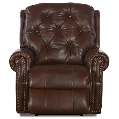 Klaussner Ellenburg Traditional Bonded Leather Reclining Chair with Attached Back Pillows and Outside Handle Activation