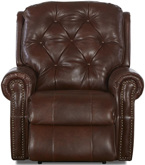 Klaussner Ellenburg Traditional Leather Reclining Chair with Attached Back Pillows and Outside Handle Activation