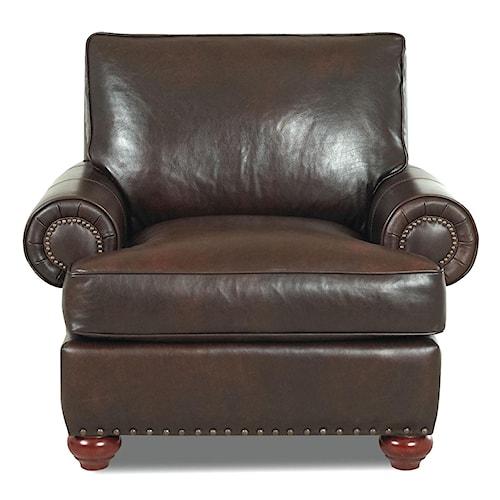 Klaussner Ellington  Nail Head Trim Leather Chair